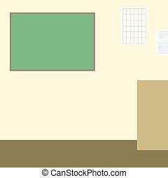 Aula con ilustración de vectores planos de pizarra