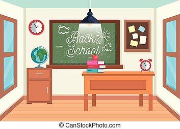 Aula con pizarra y tablón de notas con libros y manzanas
