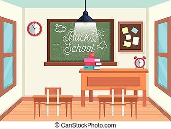 Aula de educación con pizarra y escritorios con tablas de notas