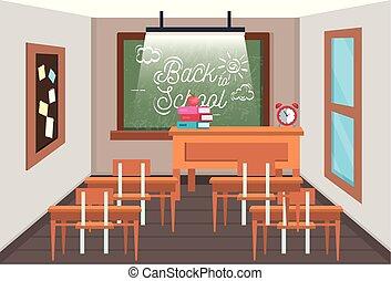 Aula de educación con pizarra y tablón de notas