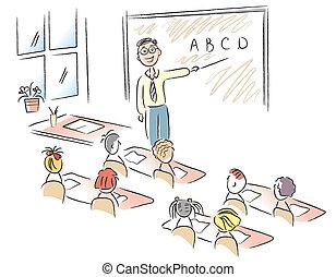 Aula de vector con maestros y niños de escuela