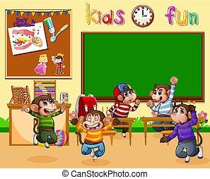 aula, monos, saltar, poco, cinco