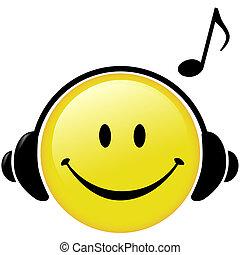 auriculares, nota, musical, feliz, música