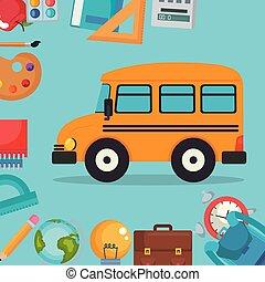 Autobús con suministros escolares