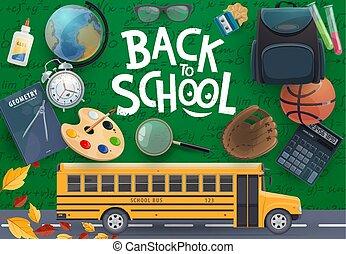 Autobús escolares y suministros de estudiantes en pizarra