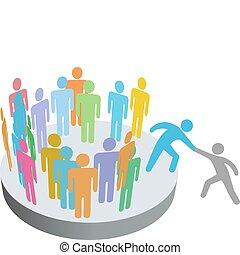 Ayuda a la persona a unirse al grupo de la compañía