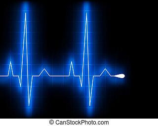 azul, corazón, ekg, graph., eps, beat., 8