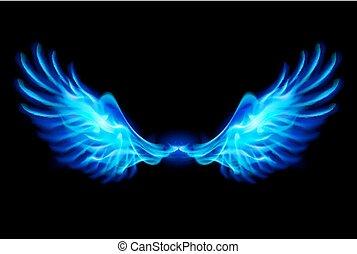 azul, fuego, wings.