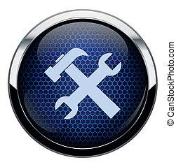 azul, reparación, panal, icono