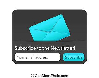 azul, suscribir, newsletter, sobre, forma