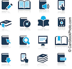 //, azur, iconos, libro, serie