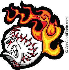 Béisbol o cara de béisbol en llamas V