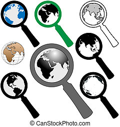 búsqueda, hallazgo, vidrio, tierra, mundo, aumentar, icono