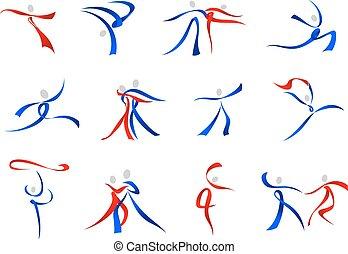 Bailarines modernos iconos y símbolos