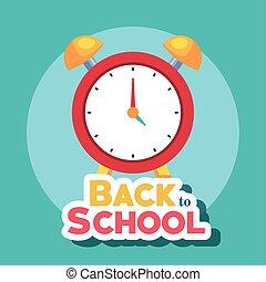 bandera, escuela, reloj, alarma, espalda