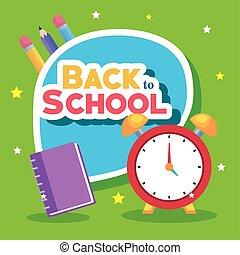 bandera, espalda, reloj, lápices, cuaderno, alarma, escuela