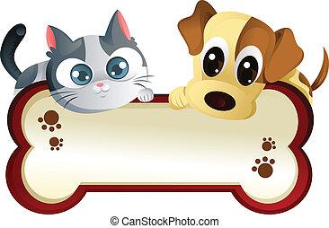 bandera, perro, gato