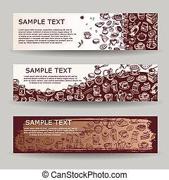 Banners con elementos dibujados por café