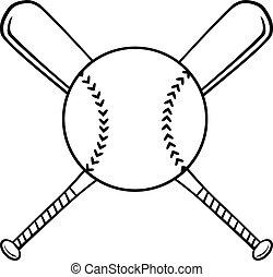 Batas de béisbol cruzadas y pelota