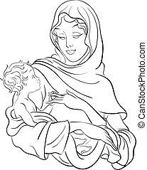bebé, virgen, asimiento, maría, jesús