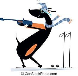 biathlon, ilustración, perro, competidor