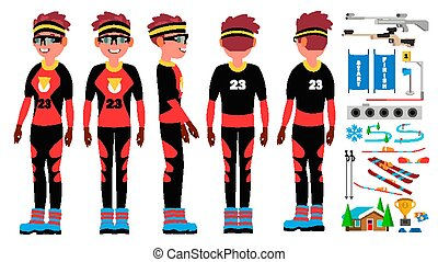 Biatlón vector masculino. Atleta de esquí. Huellas de esquí. Juegos de invierno. Ilustración de personajes de dibujos planos