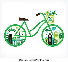 Bicicleta con ciudad verde, vector