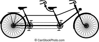 bicicleta de tandem, retro