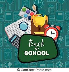 Blackboard con acuarela y mochila con alarma de reloj