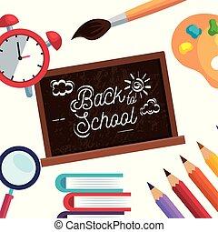 Blackboard con alarma de reloj y libros con lápices de colores