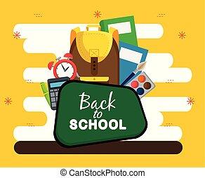 Blackboard con libros, alarma de reloj y calculadora