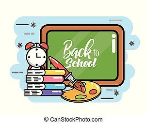 Blackboard con libros y alarma de reloj a la escuela secundaria