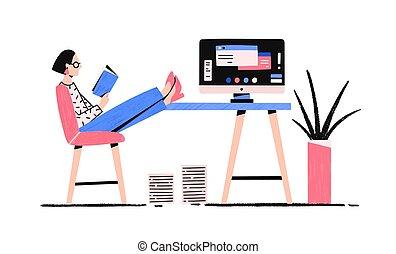blanco, escritorio, illustration., piernas, dilación, caricatura, interrupción, plano, vector, mujer, fondo., teniendo, perezoso, poniendo, niña, aislado, relajado, libro, lectura, hembra, colorido, oficina, el gozar, computadora