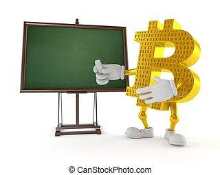 blanco, pizarra, carácter, bitcoin