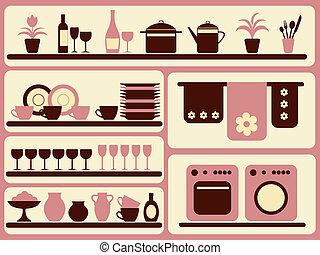 Boletos de cocina y objetos caseros.