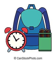 Bolsa de la escuela con despertador y lápices de colores