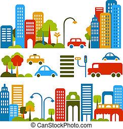 Bonita ilustración de vector de una calle de ciudad