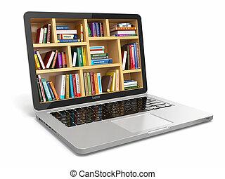 books., library., o, internet, e- aprendizaje, educación, computador portatil