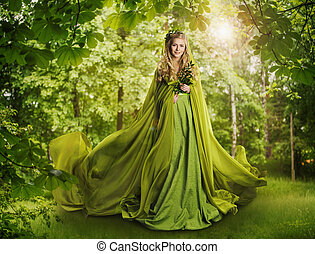 Bosque de cuentos de fantasía, diosa de la naturaleza de cuento de hadas, mujer con vestido verde misterioso