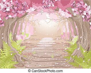 Bosque mágico de primavera