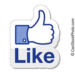 botón, facebook, él, como