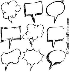 burbuja, conjunto, garabato, discurso