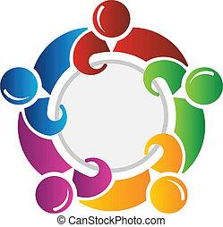 círculo, alrededor, equipo