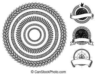 círculo, elementos, marco