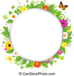 círculo, flores