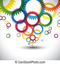 círculos, anillos, gráfico, colorido, iconos, muchos, resumen, contiene, -, o, fondo., colores, vector, engranajes, rueda dentada