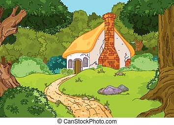 Cabaña forestal de dibujos animados