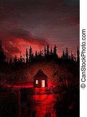 cabaña, misterioso, bosque, abandonado