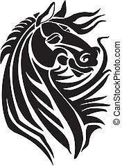 Caballo al estilo tribal, ilustración vectorial.