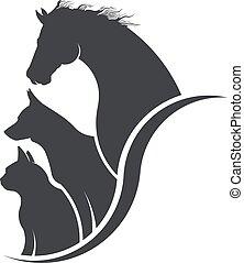 Caballo, perro, gato ilustración amante de los animales